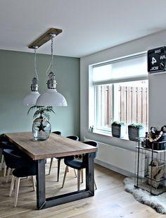 amenagement salle a manger vert celadon, table en bois et metal noir, chaises scandinaves noires, parquet clair, plantes vertes et suspensions style industriel