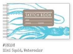 Mini Sketch Book: Squid, Watercolor