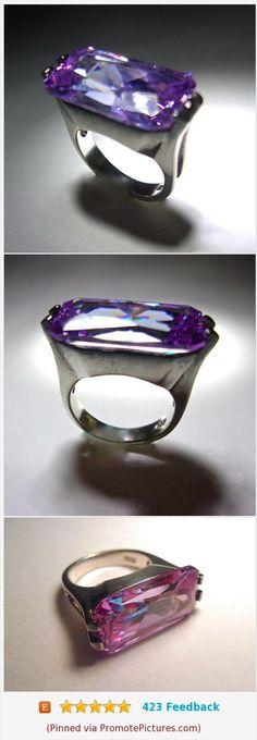 Lavender Pink Glass Radiant Cut Sterling Silver Ring, Elongated, Vintage sz 6 #sterlingsilverring #glassring #lavenderglassring #radiantcut #vintage #sterlingsilver #purple #pink https://www.etsy.com/RenaissanceFair/listing/521268006/lavender-pink-glass-radiant-cut-sterling?ref=listings_manager_grid  (Pinned using https://PromotePictures.com)