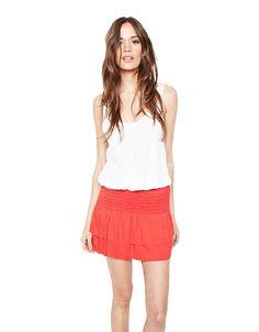 Michael Lauren Vice Mini Skirt w/Smocking in Gypsy Red – SWANK