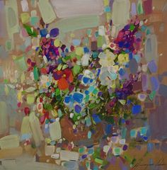 Artist: Vahe Yeremyan Work: Original oil Painting, Handmade artwork, One of a Kind Medium: Oil on Canvas Year: 2017 Subject: Vase of Flowers, SIZE: 14