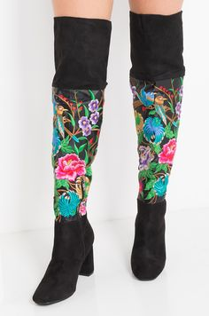 38b4b2202588 Faux Suede High Chunky Heel Embroidered Zip Up Squared Toe Thigh High Boots  in Black