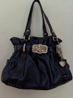 Kathy Van Zeeland Handbag In Metallic Blue Ebay