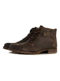 Dune Brown Leather Boots Top Man - Mens Boots - Ideas of Mens boots Mens Boots Fashion, Leather Fashion, Brown Leather Boots, Leather Men, Men's Shoes, Shoe Boots, Male Shoes, Best Shoes For Men, Desert Boots