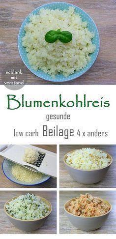 Blumenkohlreis low carb Rezept Ihr braucht für 2 Portionen: 1 kleinen Blumenkohl 1 EL Ghee, Butter oder Öl 1 TL Salz
