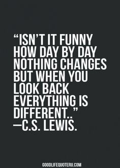 Isn't it funny how day by day nothing changes but when you look back everything is different ~ c.s. lewis within the best life quotes 2017