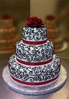 black white and red swirly wedding cake