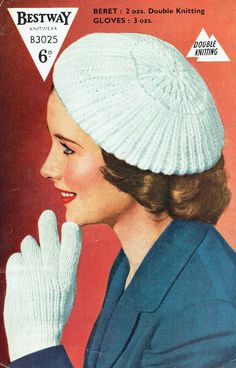 Genuine Vintage RARE 1950s Bestway Ladies Jaunty Beret & Gloves Knitting pattern, very Grace Kelly, Pin up Girl, City-Chicx