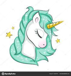 u AaCute magical unicorn. Vector design isolated on white background. Print for t-shirt or sticker. Romantic hand drawing for children. Unicorn Painting, Unicorn Drawing, Cartoon Unicorn, Unicorn Art, Magical Unicorn, Cute Unicorn, Rainbow Unicorn, How To Draw Unicorn, Unicorn Stencil