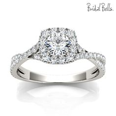 Petite Round Halo .70cttw Diamond Engagement Ring with Crossed Shank