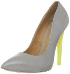 gray pumps w yellow heel
