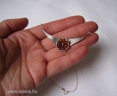 Gyönyörű virágos borostyán köves ezüst nyakék ---- 1 Ft! - Vatera.hu