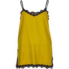 Lime velvet lace trim cami top - tops - sale - women