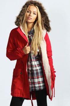 24d972448e0 coats and knits at boohoo.com Red Parka