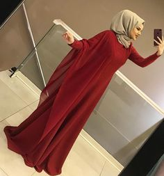 The image may contain: 1 person standing, shoes and inside Hijab Chic, Modest Fashion Hijab, Abaya Fashion, Fashion Dresses, Mode Niqab, Mode Abaya, Hijab Gown, Hijab Dress Party, Muslim Women Fashion
