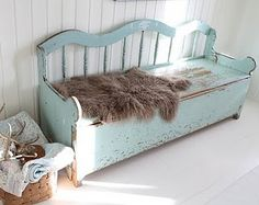 nice old bench with storage