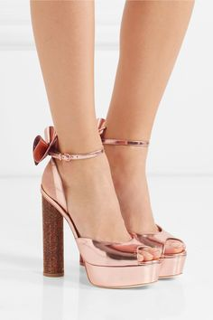 948328540e1 Arabella Cross Front Block Statement Perspex Heel In Rose Gold... (70 BGN)  ❤ liked on Polyvore featuring shoes