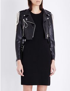 MOSCHINO Embellished faux-leather biker dress ($1215)