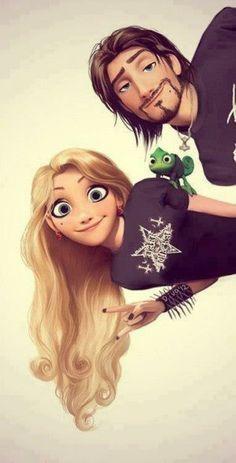 Rapunzel and Flynn rock on!