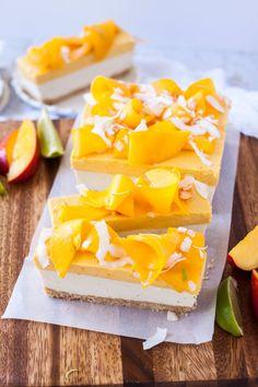 Mango Panna Cotta Coconut Cheesecake - a nobake cheesecake with layers of mango panna cotta and coconut cheesecake