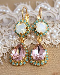 Turquoise White and vintage pink crystal Chandelier earrings - 14k plated gold earrings real Swarovski crystals.
