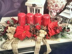Red christmas advent candlestick Red Christmas, Candlesticks, Advent, Table Decorations, Furniture, Home Decor, Homemade Home Decor, Candle Sticks, Candelabra