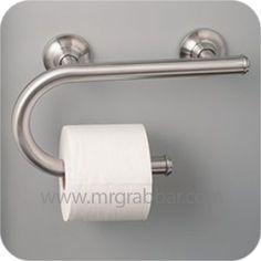 Brushed Nickel Grab Bar with Integrated Paper Holder - Moen LR2352DBN Bathroom Furniture, Bathroom Interior, Modern Bathroom, Bathroom Ideas, Bathroom Designs, Beautiful Bathrooms, Natural Bathroom, Bathroom Inspiration, Ada Bathroom