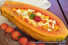 Salada de Frutas na Barquinha de Mamão » Receitas Saudáveis, Saladas » Guloso e Saudável