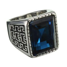 Blue Square Gemstone 316L Stainless Steel Ring