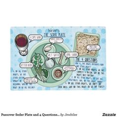 Passover Seder Plate and 4 Questions #Personalized_Placemat - This #Passover_placemat is a fun way #for_kids and guests to learn #the_four_questions plus what goes on a  #pesach_seder_plate. Illustrated in cartoon style, each of the items are labeled, along with a plate of 3 Matzoh and a wine glass. The creamed green pea colored plates are set on a cheerful backdrop of light blue aqua bubbles. Option to personalize each mat you order at no extra cost!