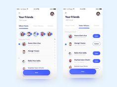 Giftium Choose/ Add Friends designed by Shahidul Islam Shishir ✪. Connect with them on Dribbble; Dashboard Design, App Ui Design, Moodboard App, Android App Design, Android Apps, Add Friends, Friends List, Web Design Projects, Mobile Ui Design