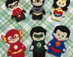 Superhero Felt Finger Puppets Set, Hero Finger Puppets, Finger Puppets