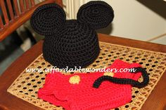 Free Crochet Mickey Mouse Diaper Cover Pattern.