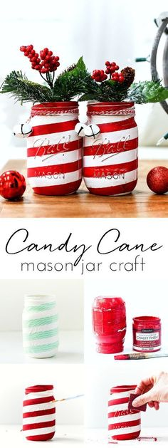 Candy Cane Mason Jar Craft Project - How To Make Candy Cane Mason Jar Candy cane mason jars - How to make Candy Cane mason jars. Tutorial on how to make Christmas candy cane mason jars. Mason Jar Christmas Crafts, Mason Jar Crafts, Bottle Crafts, Christmas Projects, Holiday Crafts, Christmas Diy, Holiday Candy, Holiday Decor, Simple Christmas