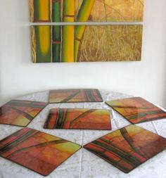Individuales con Cañas - Acrílico sobre madera, protegidos con poliuretano Arte Country, Ideas Para, Decoupage, Contemporary, Rugs, Crafts, Home Decor, Diy And Crafts, Molde