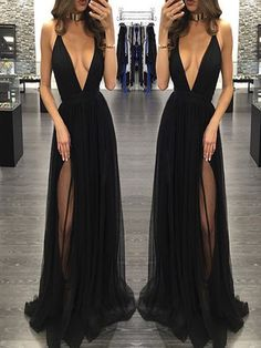 Popular Black Deep V-neck Sexy See Through Tulle Charming Simple Formal Evening Party Prom Dress.PD210703