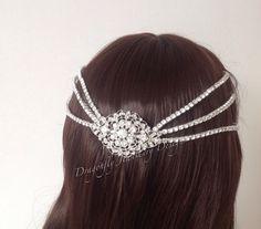 Unusual unique bespoke diamanté headpiece by DragonflyWeddings