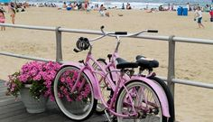 A shot of two pink bicycles on the boardwalk at Avon by the Sea, along the New Jersey shore. Donna remember our early morning bike rides in Avalon, NJ? Velo Beach Cruiser, Custom Beach Cruiser, Cruiser Bikes, Ocean City Boardwalk, Ocean City Md, Avon By The Sea, Pink Bike, Tybee Island, Beach Town
