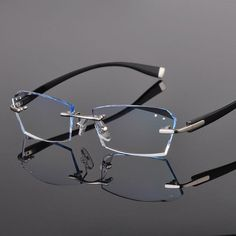 aa63160ea00 1.61 Index Single Vision Prescription Luxury Eyeglasses Diamond Trimming  Rimless TR90 Glasses Frame With Gradient Tint