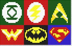 Justice League Logos; knitting pattern--could do with tiny squares