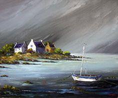 mar_e_avant_l_orage Seascape Paintings, Landscape Paintings, Watercolor Paintings, Irish Art, Easy Watercolor, Chalk Pastels, Gouache Painting, Beach Pictures, Anime Comics