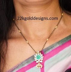 Short Length Black Beads Necklace Gold Mangalsutra Designs, Gold Earrings Designs, Necklace Designs, Diamond Mangalsutra, Bead Jewellery, Beaded Jewelry, Beaded Necklace, Pearl Jewelry, Indian Jewelry