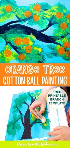 Kids will love creating this orange tree cotton ball painting with gorgeous shades of green and then stamp on oranges using another fun painting tool! Free printable template included! Painting Activities, Art Activities For Kids, Fun Crafts For Kids, Preschool Crafts, Projects For Kids, Activity Ideas, Summer Crafts, Abstract Art For Kids, Painting For Kids