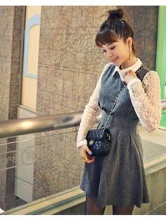 Korean College Graceful Lady Lace Split Joint Lapel Dress Ruffle Pullover Honey Girl Slim Wear Smart Waist Dress