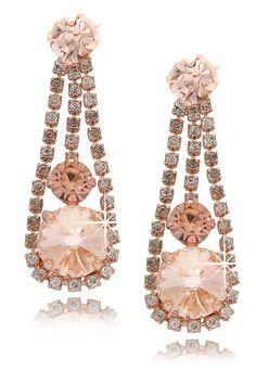LK DESIGNS Peach Crystal Rosegold Earrings - ACCESSORIES | JEWELRY | Earrings | Pierced | PRET-A-BEAUTE.COM on We Heart It - http://wehearti...