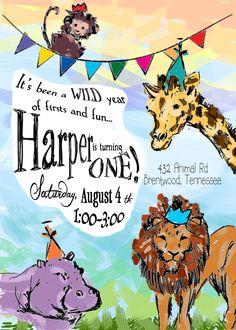 Printable 'Full-Color Hand Illustration' Zoo Birthday Invitation by CustomInkDesigns on Etsy https://www.etsy.com/listing/118354415/printable-full-color-hand-illustration