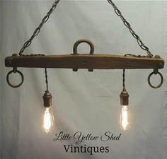 Repurposed Horse Yoke turned Hanging Light using Edison bulbs. Check out my website at Little Yellow Shed Vintiques to see more pictures. Like Littl Farmhouse Lighting, Rustic Lighting, Industrial Lighting, Vintage Lighting, Kitchen Lighting, Farmhouse Decor, Hanging Light Fixtures, Hanging Lights, Hanging Lamps