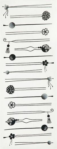 Zako: かんざし Japanese Fabric, Japanese Kimono, Japanese Costume, Japanese Hairstyle, Kanzashi Flowers, Makeup Box, Hair Sticks, Pattern Illustration, Enamel Jewelry