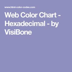 Web Color Chart - Hexadecimal - by VisiBone