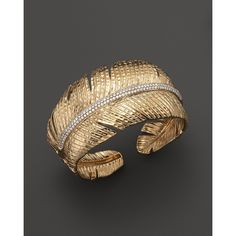 Michael Aram 18K Yellow Gold Feather Cuff with Pave Diamonds ($16,900) ❤ liked on Polyvore featuring jewelry, bracelets, 18k gold bracelet, 18k gold bangle, cuff bangle, gold cuff bangle and 18k yellow gold bracelet
